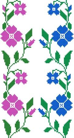 gestickt: zwei nahtlose gestickte G�ter wie handmade Kreuzstich ethnischen Ukraine Muster