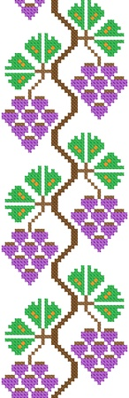 seamless embroidered good like handmade cross-stitch ethnic Ukraine pattern. vineyard stylization Vector