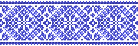 blue color embroidered good like handmade cross-stitch ethnic Ukraine pattern Vector
