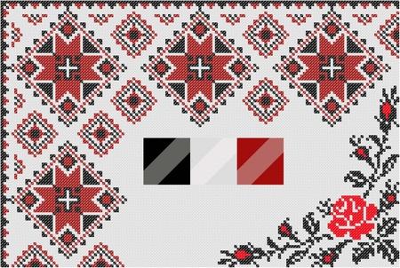 dichromatic: two color paint ethnic Ukraine cross pattern Illustration