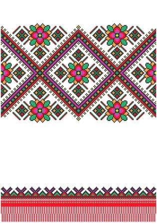 punto de cruz: bordado bien como patr�n de Ucrania �tnico a mano cruz-puntada