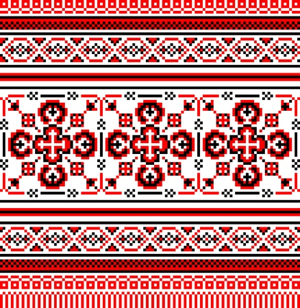 embroidery on fabric: embroidered good like handmade cross-stitch ethnic Ukraine pattern