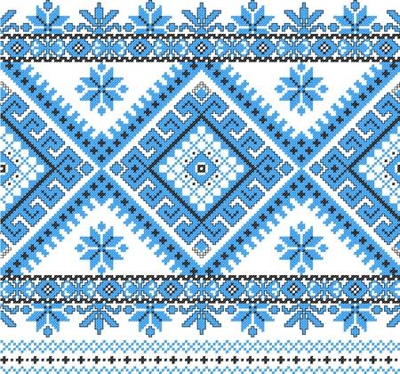 punto cruz: bordado bien como patrón de Ucrania étnico a mano cruz-puntada