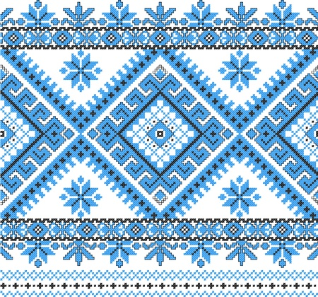 folk art: embroidered good like handmade cross-stitch ethnic Ukraine pattern