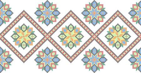 crisscross: embroidered good like handmade cross-stitch ethnic Ukraine pattern