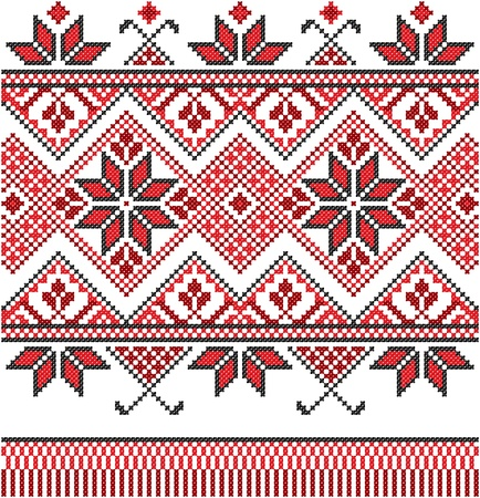 embroidered good like handmade cross-stitch ethnic Ukraine pattern Stock Vector - 8962093