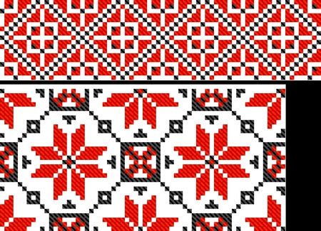 two seamless ethnic paints like Ukraine cross pattern Vector