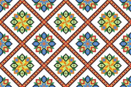seamless embroidered good like handmade cross-stitch ethnic Ukraine pattern Stock Vector - 8949310