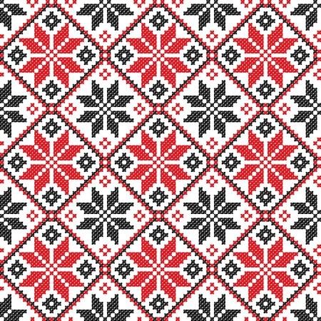 seamless embroidered good like handmade cross-stitch ethnic Ukraine pattern Stock Vector - 8962092