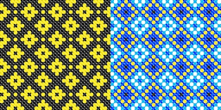 two seamless embroidered good like handmade cross-stitch ethnic Ukraine pattern Vector