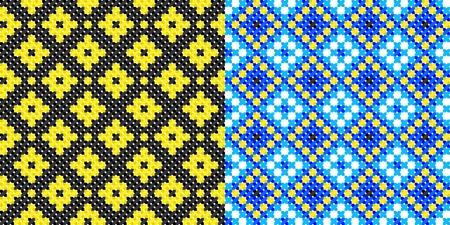 two seamless embroidered good like handmade cross-stitch ethnic Ukraine pattern Vector