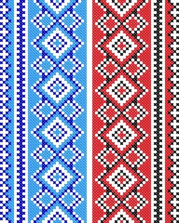 punto cruz: dos buenas bordado como patr�n de Ucrania �tnico a mano cruz-puntada