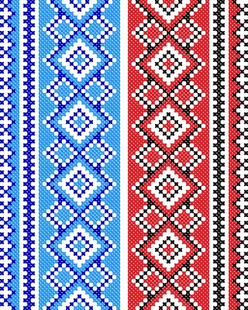 serviette: two embroidered good like handmade cross-stitch ethnic Ukraine pattern