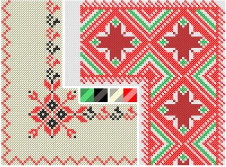 serviettes: color paint ethnic Ukraine. Imitation of the cross stitch Illustration