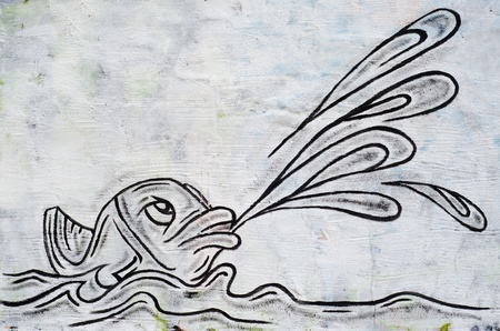 fish as graffiti on a wall
