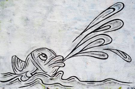 fish as graffiti on a wall Stock Photo - 9223434