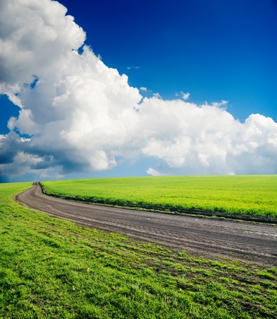 dirty road in green field under cloudy sky photo