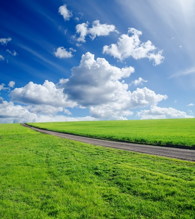 rural road, green grass and cloudy sky Stock Photo - 9470529