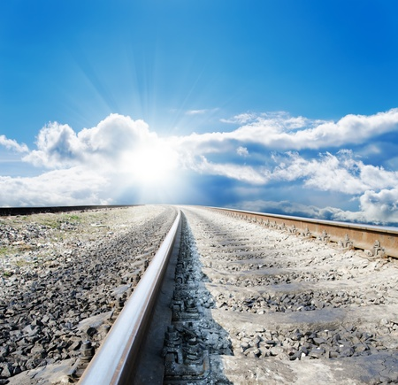 railway to sunny horizon Stock Photo - 9470495