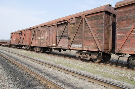 substructure: old rusty train wagons on railway