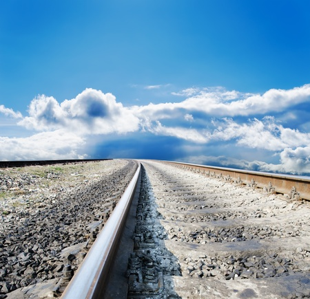 railway to cloudy horizon photo