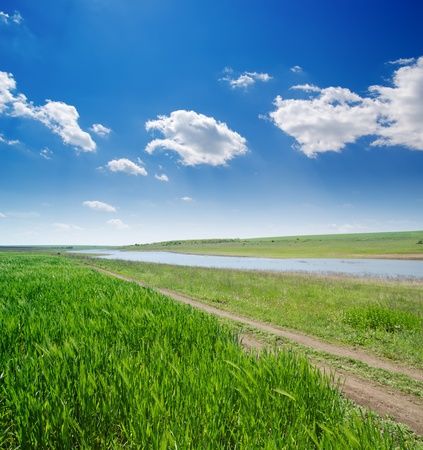 rural road in green grass and cloudy sky Stock Photo - 9590159