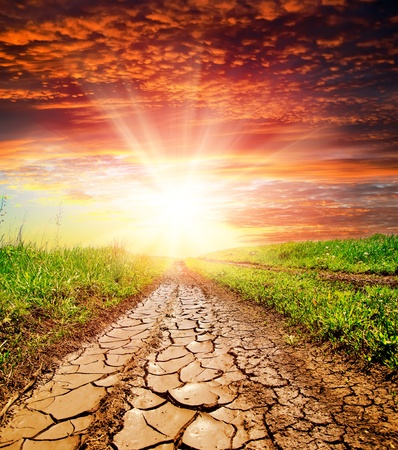 sunset over cracked rural road in green grass and cloudy sky photo