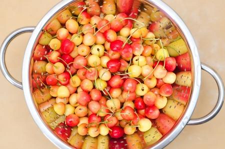 a colander: fresh cherry in colander