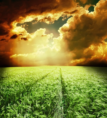 green field with road under dramatic sky photo