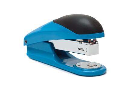 blue stapler on a white background photo