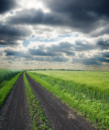 dirty road to cloudy horizon Stock Photo - 9878422
