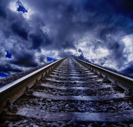 white hole: railroad at night Stock Photo
