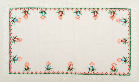 embroidered: embroidered good by cross-stitch pattern. ukrainian ethnic ornament