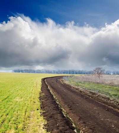 dirty road to cloudy horizon Stock Photo - 10338144