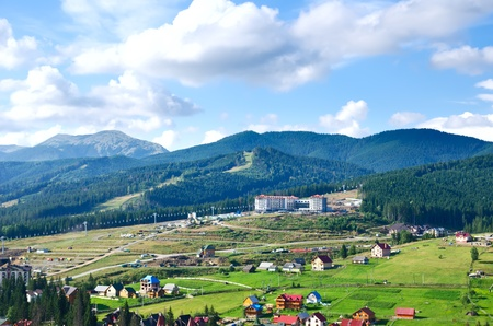 Beautiful green mountain landscape with trees in Carpathians Stock Photo - 10432360