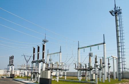 redes electricas: parte de alta tensi�n de la subestaci�n Foto de archivo