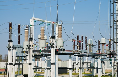 substation: part of high-voltage substation Stock Photo