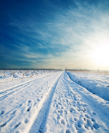 sunny cold days: rural road under snow