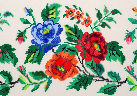 stitch: embroidered good by cross-stitch pattern. ukrainian ethnic ornament