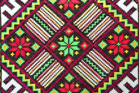 embroider: embroidered good by cross-stitch pattern. ukrainian ethnic ornament