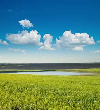 spring landscape with green field and pond photo