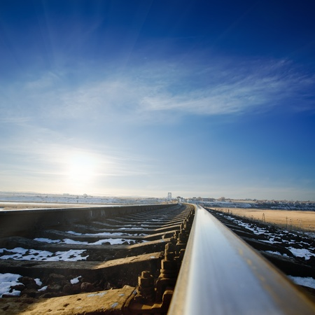railroad to sunset   winter time Stock Photo - 12762294