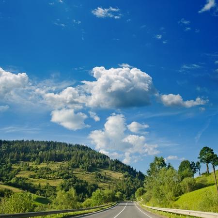 road in mountain  Ukrainian Carpathians photo