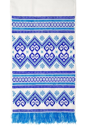embroidered good by cross-stitch pattern  ukrainian ethnic ornament Stock Photo - 13029605