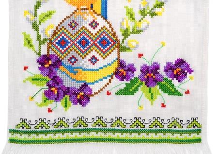 stitch: embroidered good by cross-stitch pattern  ukrainian ethnic ornament