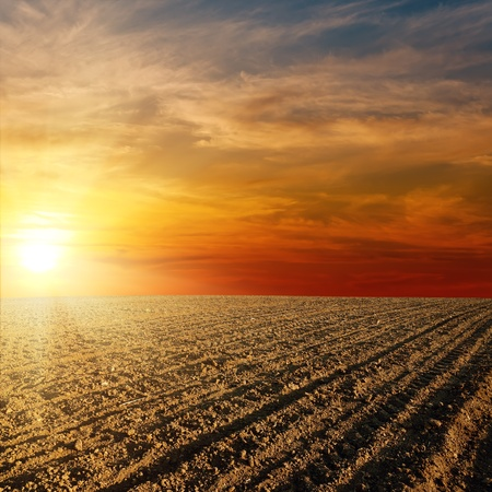 ploughed field: red sunset over ploughed farm field