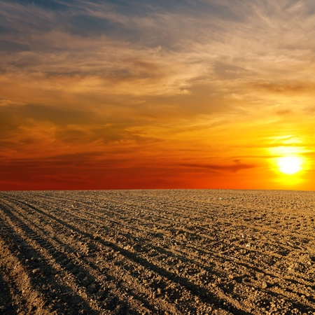 red soil: red sunset over ploughed farm field