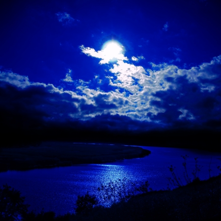 futuristic nature: moonlight over river