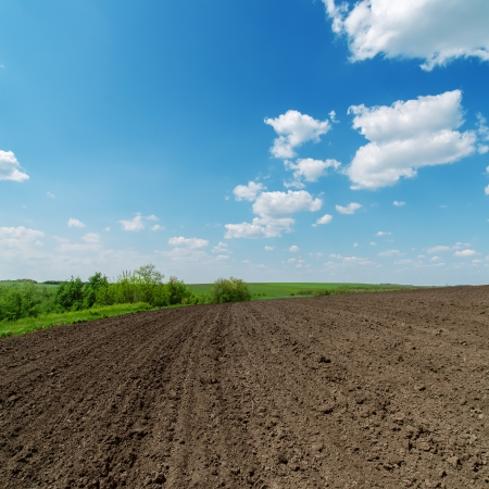 tillage: black spring field and cloudy sky