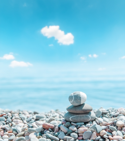 zen stone stack near sea. soft focus photo